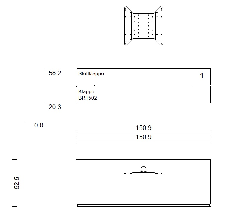 BR1502-SNG Lowboard wandhängend
