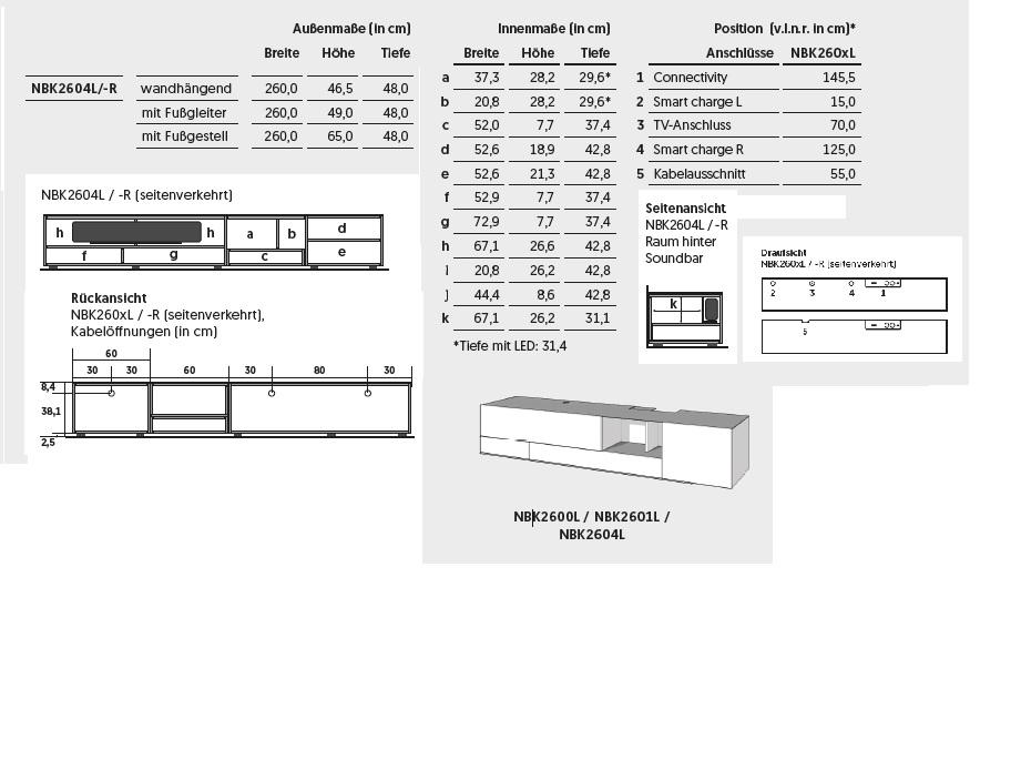 NBK2604R-Lowboard für Soundbar Integration (Sondermodell)
