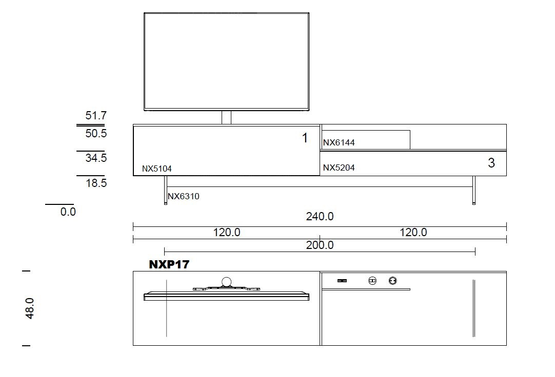 NXP17-Lowboard für Soundbar Integration
