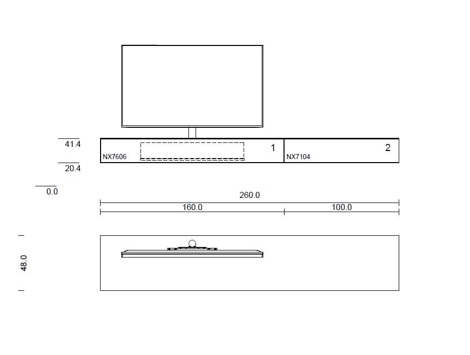 Lowboard 260cm mit Soundsystem BRA2