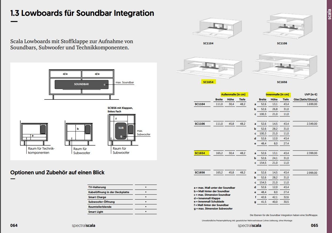 SC1654-SNG Lowboard für Soundbar Integration